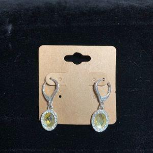 Costume oval cushion cut yellow dangle earrings